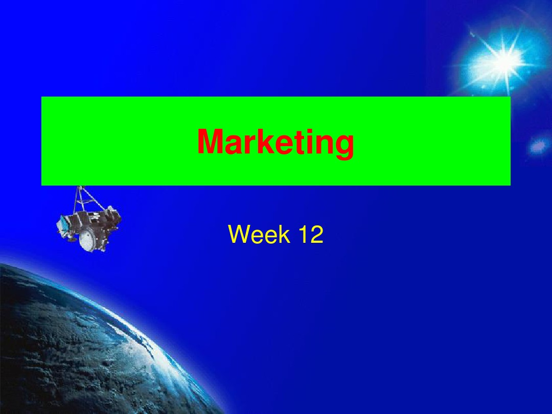 Marketing (Week 12-14)