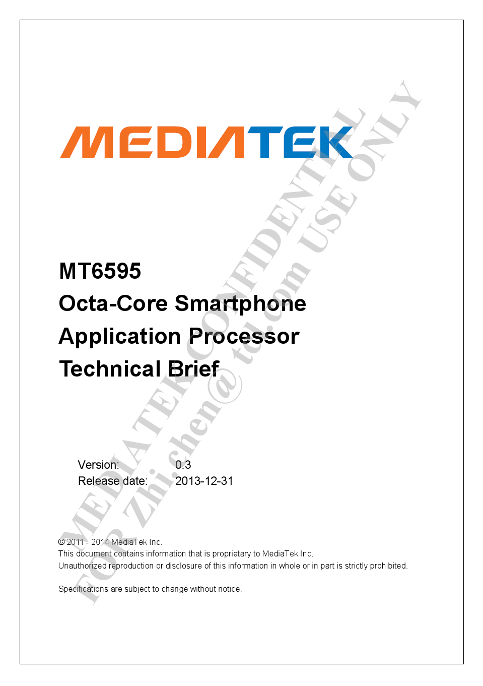 MT6595 Datasheet Brief