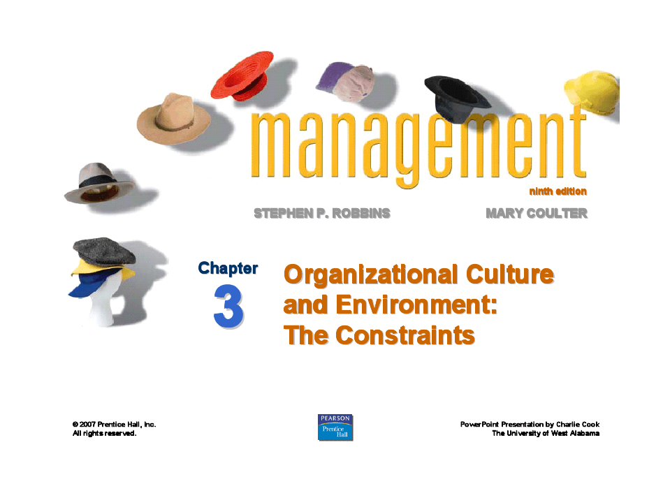 9erobbins_PPT03 Organizational Culture and Environment The Constraints