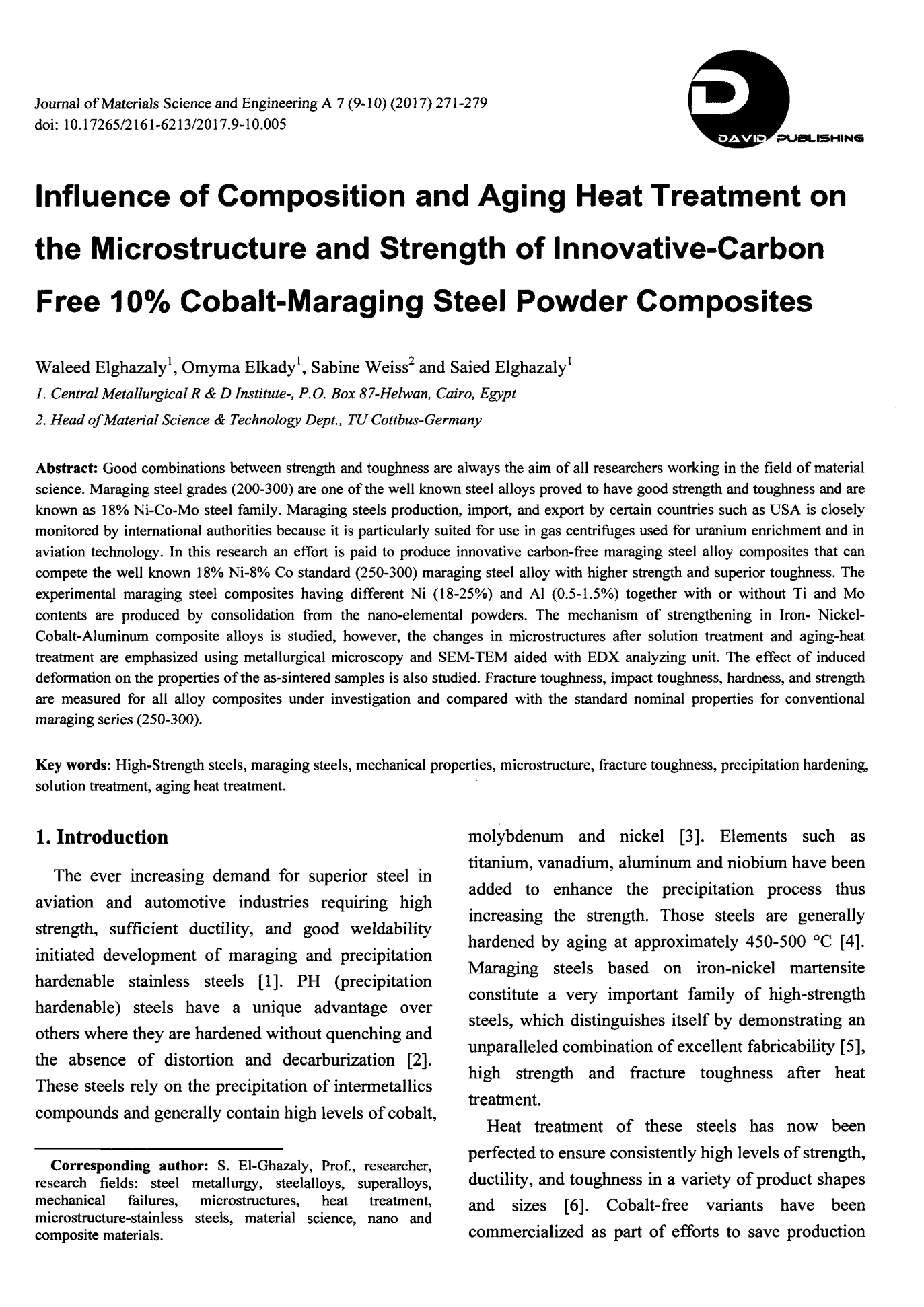 Influence of Composition and Aging Heat Treatment on the Microstructure and Strength of In