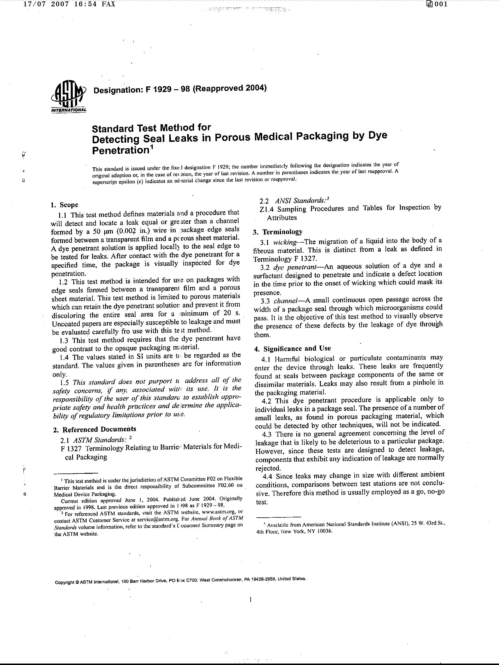 ASTM F1929-2004 Dye Penetration Test_文档之家