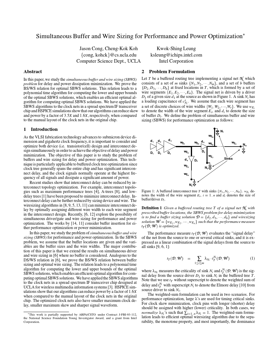 Abstract Simultaneous Buffer and Wire Sizing for Performance and Power Optimization