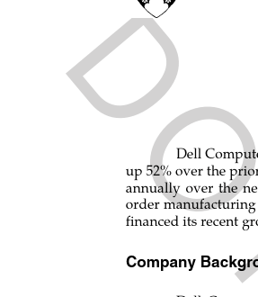 Dell's Working Capital (HBS case) [Finance]