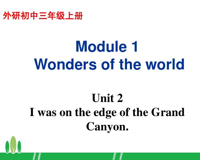 外研版九上Module 1 Wonders of the world Unit 2 I was on the edge of the Grand Canyon