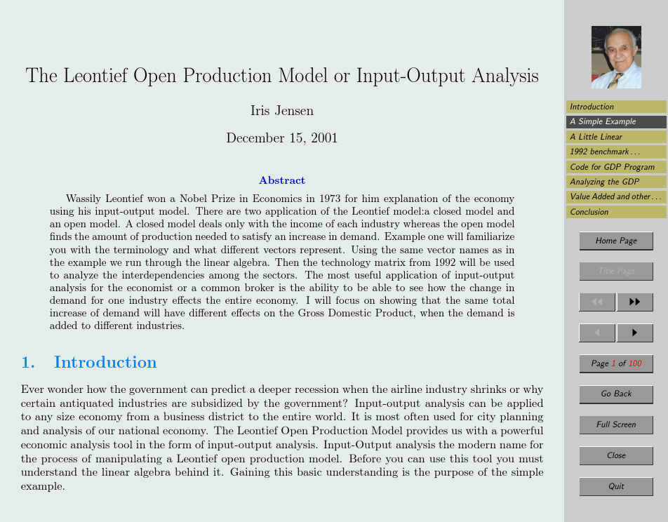 The Leontief Open Production Model or Input-Output Analysis