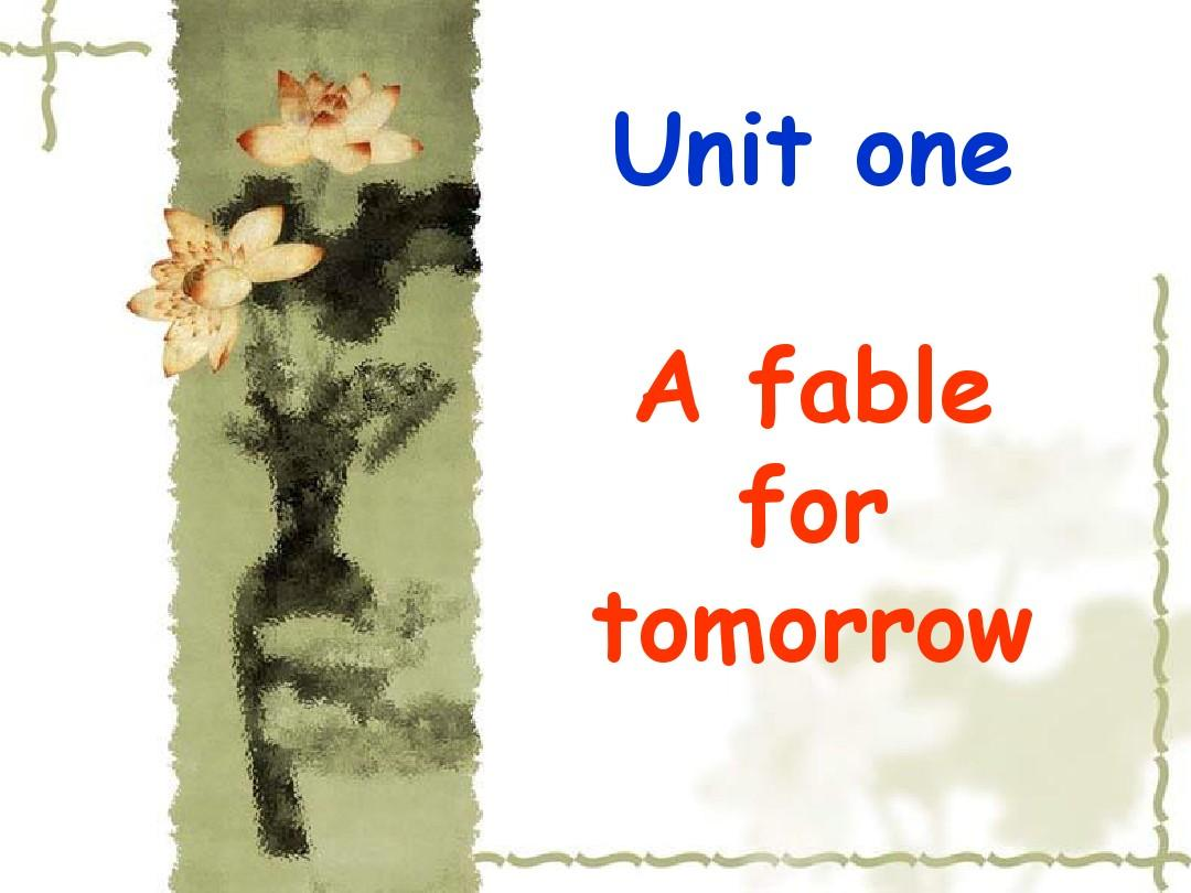 a fable for tomorrow
