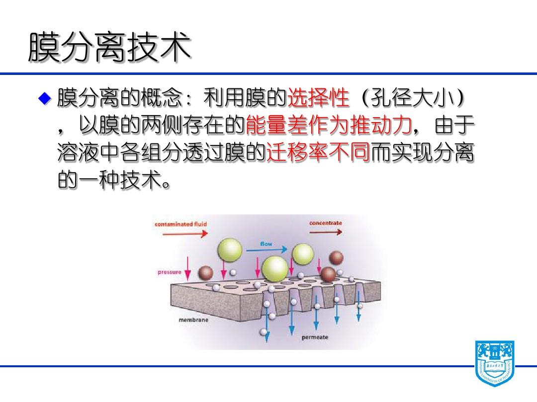 Chapter9 Membrane separation and electrophoresis 膜分离和电