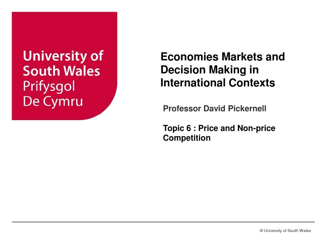 Economies and Markets T6 Price and Non-price competition