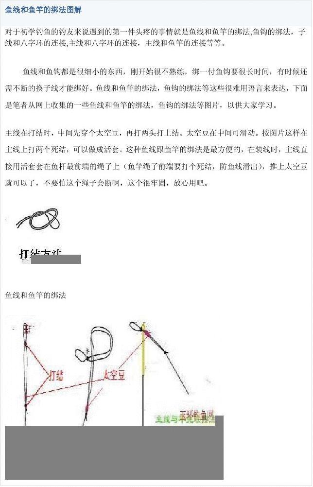 鱼线和鱼竿的绑法图解