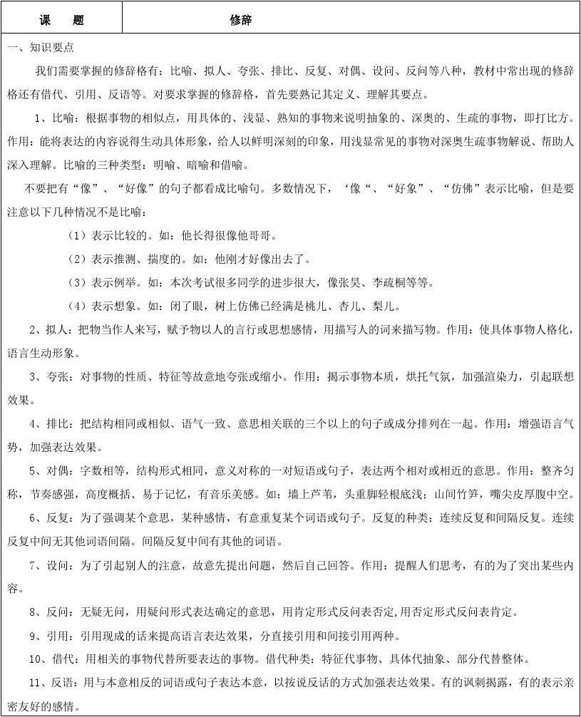 9数学闵行语文初中培训机构初一练习题知识_初中答案修辞的图片
