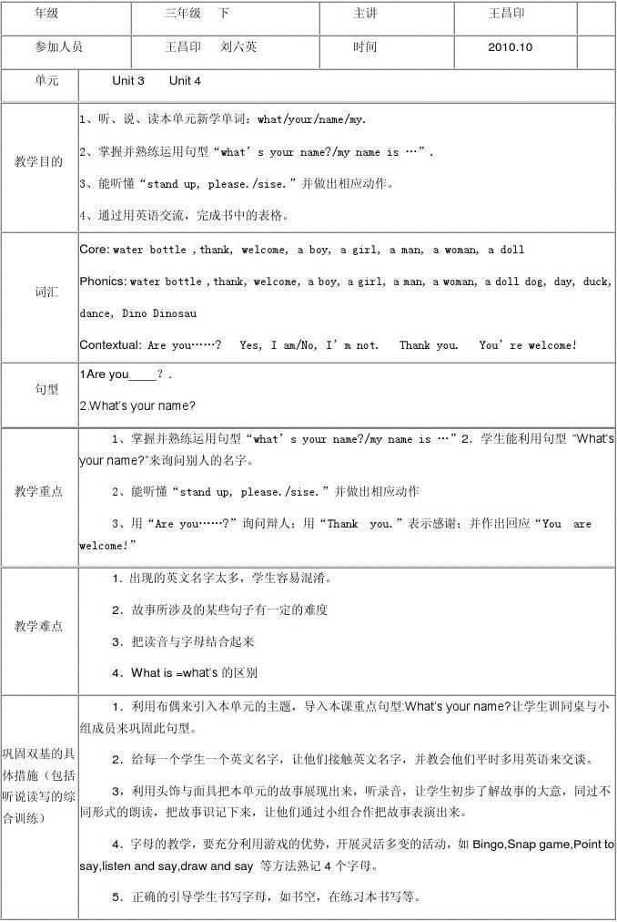 小学语文教研记录表_小学三年级英语集体备课记录表_文档下载