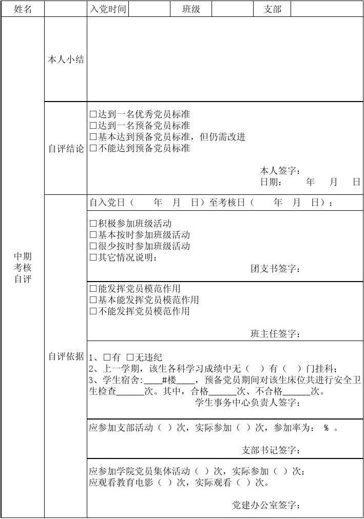 经济管理学院学生党支部预备党员中期考核登记表