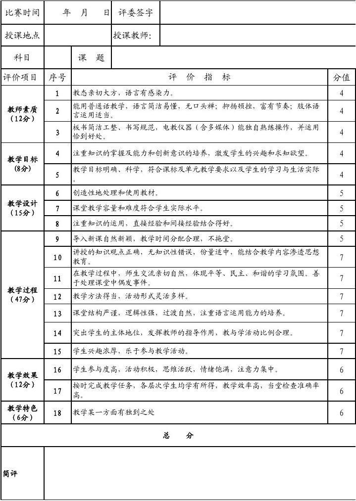 野马川镇乌木小学优质课比赛评分表图片