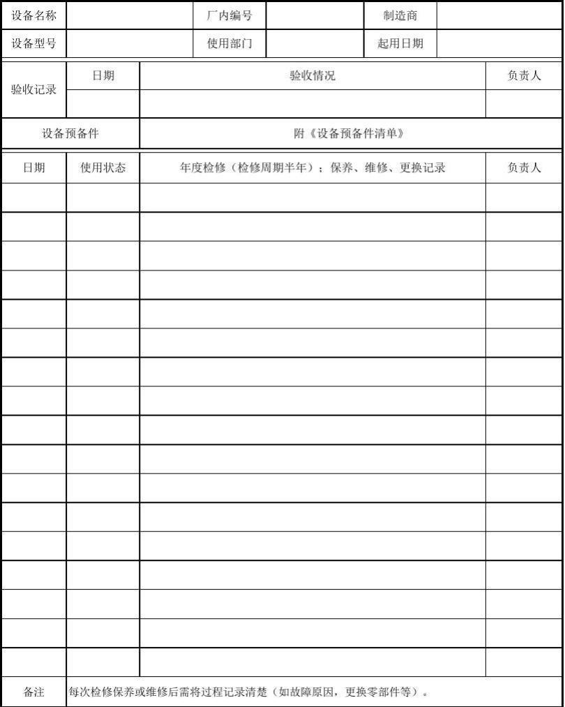 设备履历表 Word文档在线阅读与下载 文档网