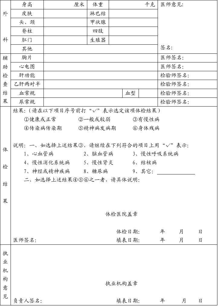 护士注册体检表_甘肃省护士执业注册健康体检表
