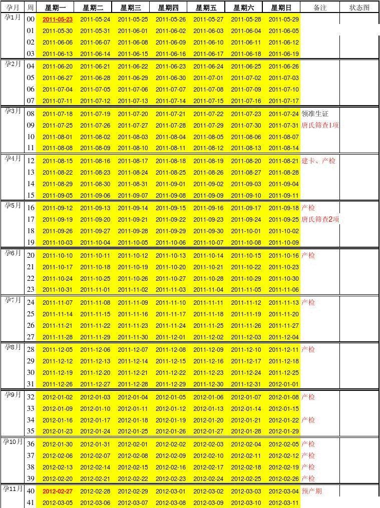 孕期检查时间表