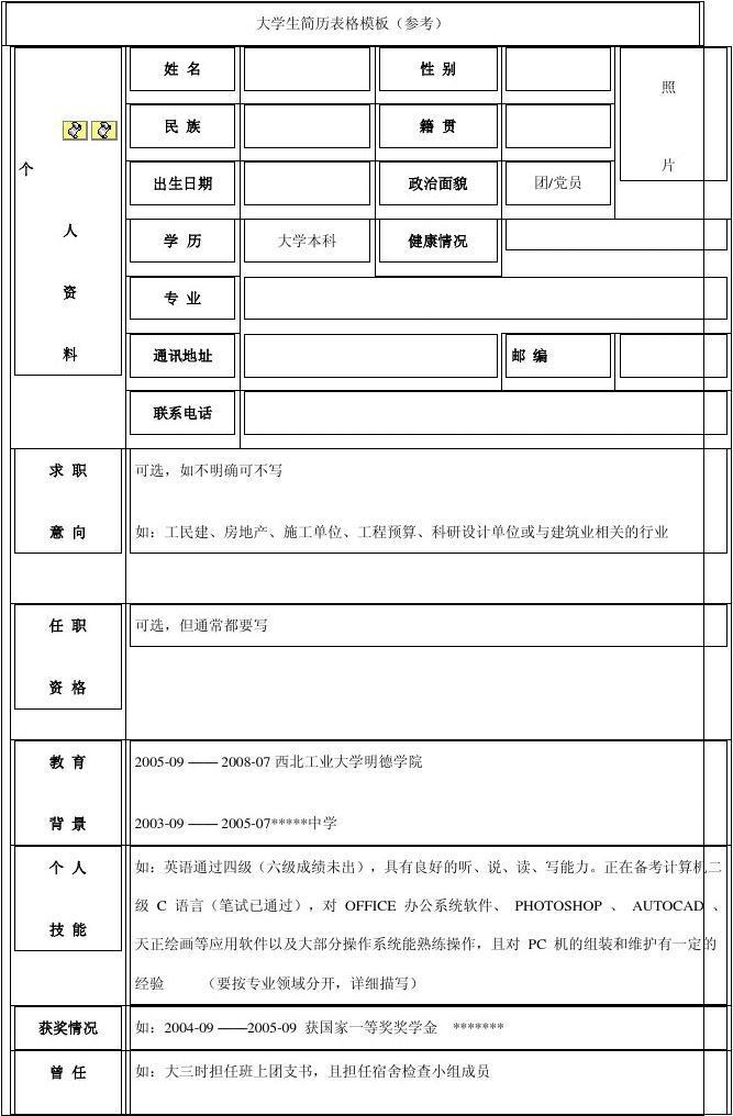 大学生简历表格模板(参考)图片
