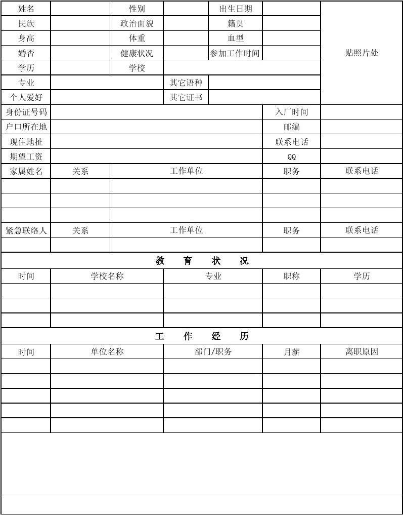 1103员工个人档案表