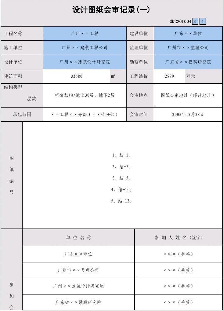 审范文_04 设计图纸会审记录(一)gd2201004