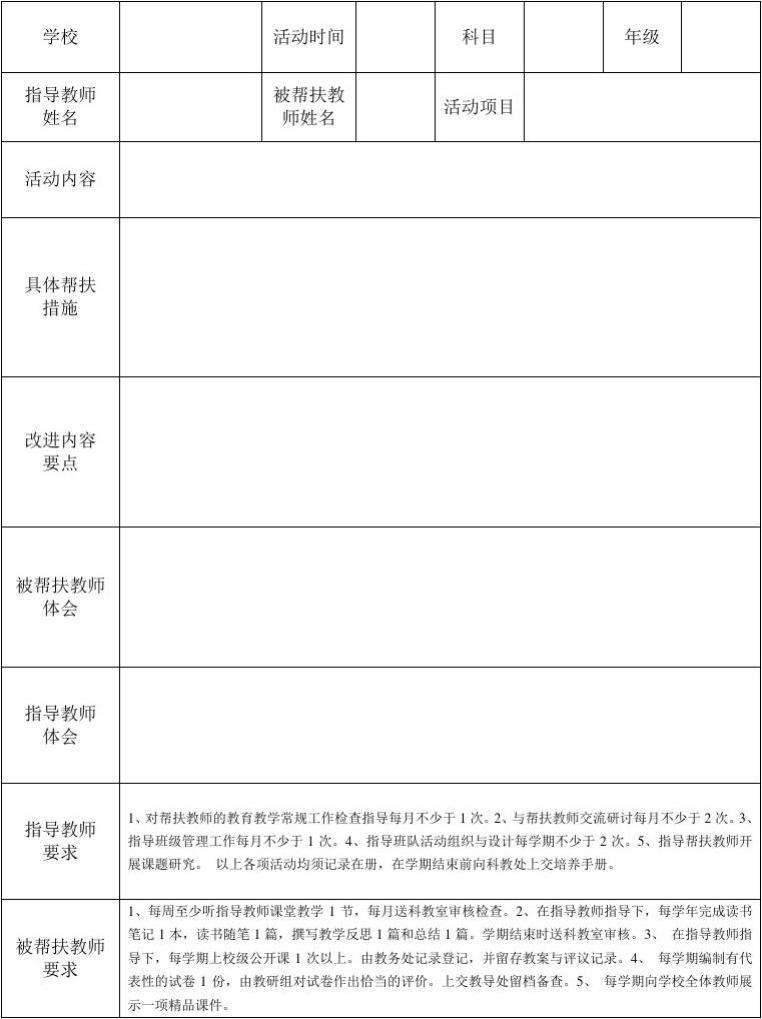 指导青年教师记录表_指导教师与青年教师结对帮扶记录表_文档下载