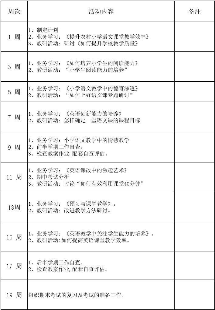 小学语文教研记录表_数学教研组计划、周历、活动记录表_文档下载