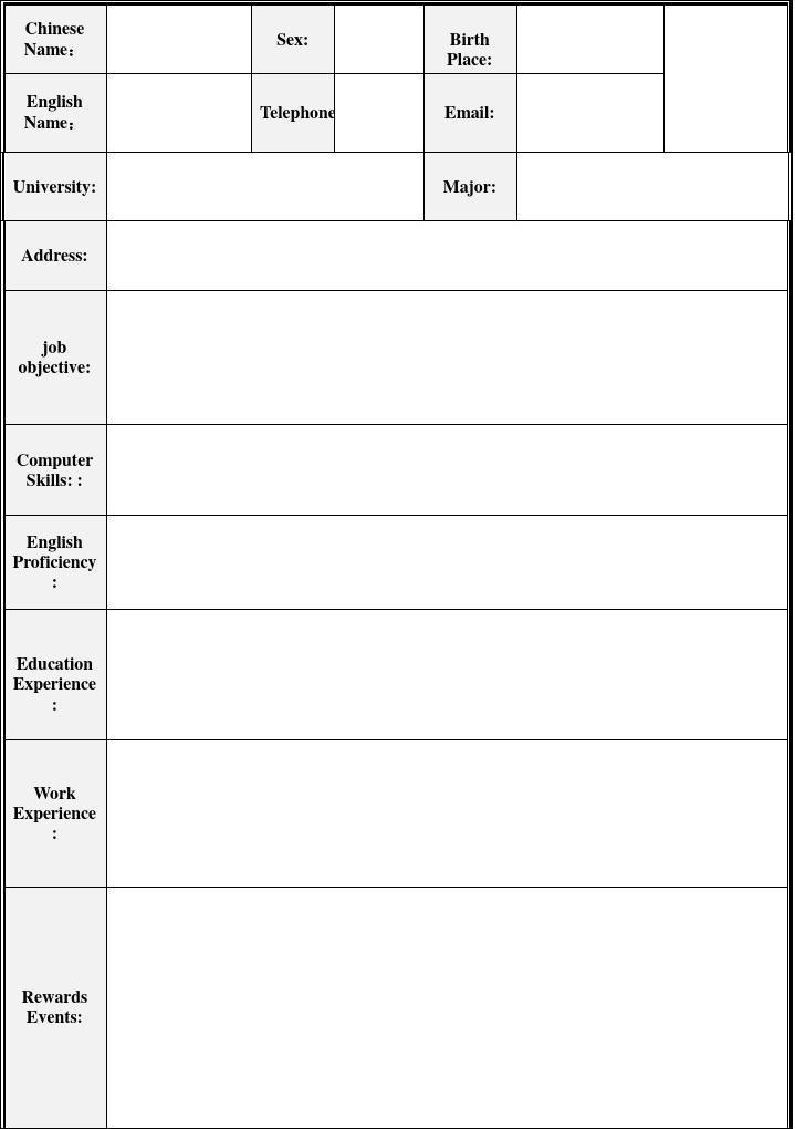 英文简历模板表格图片
