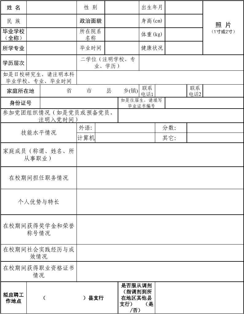 州支行_中国邮政储蓄银行延边州各县支行应聘人员登记表
