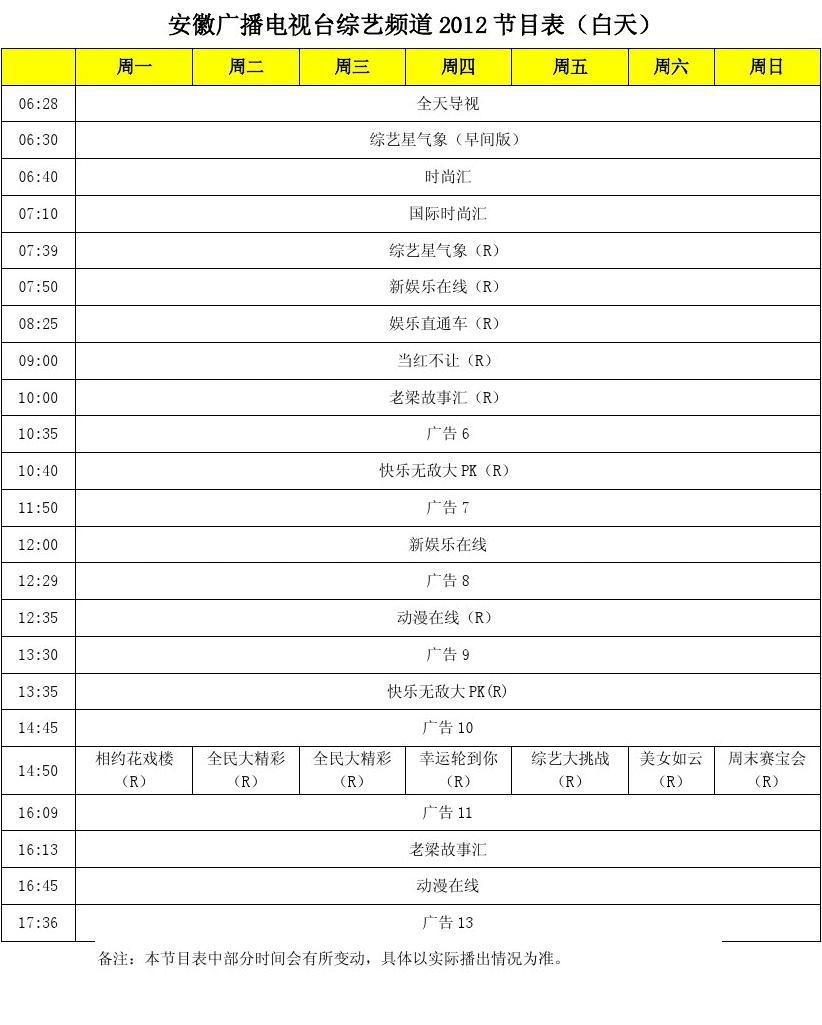 安徽广播电视台综艺频道2012节目表(白天)