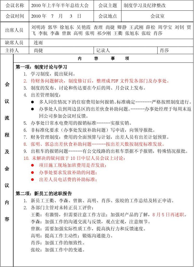会议记录格式范文_会议记录表_word文档在线阅读与下载_文档网