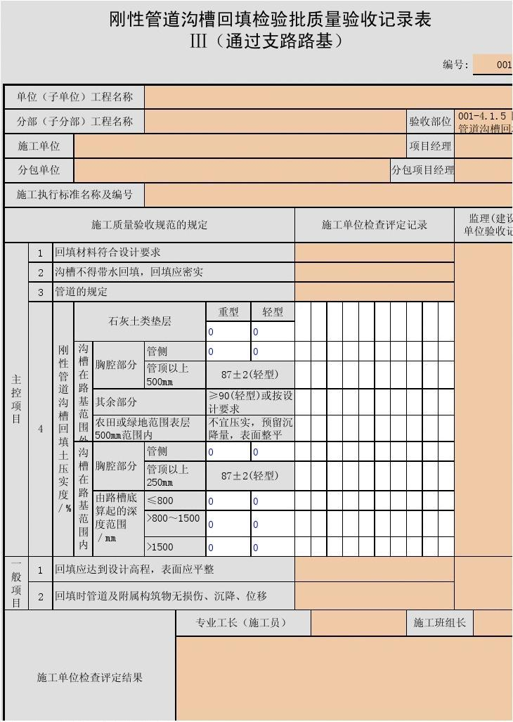 001-4.1.5 刚性管道沟槽回填检验批质量验收记录表Ⅲ(通过支路路基)