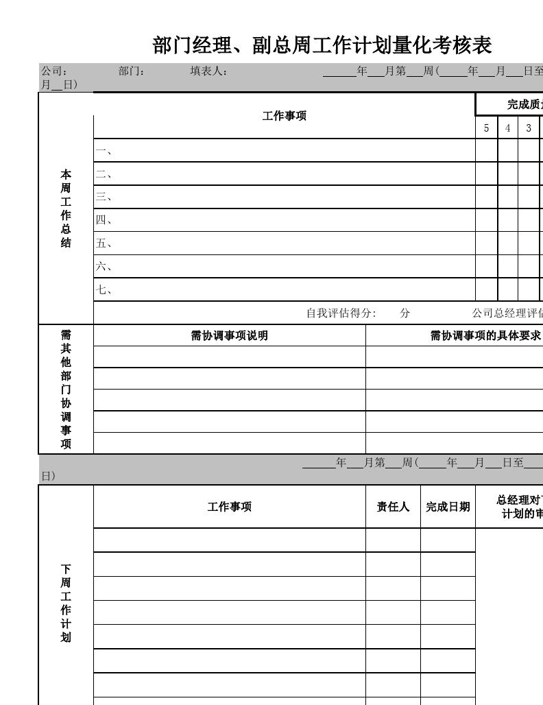 部门经理,副总周工作计划量化考核表图片