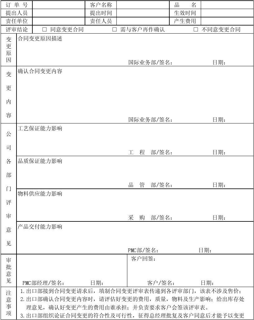 合同变更评审表(空白)图片