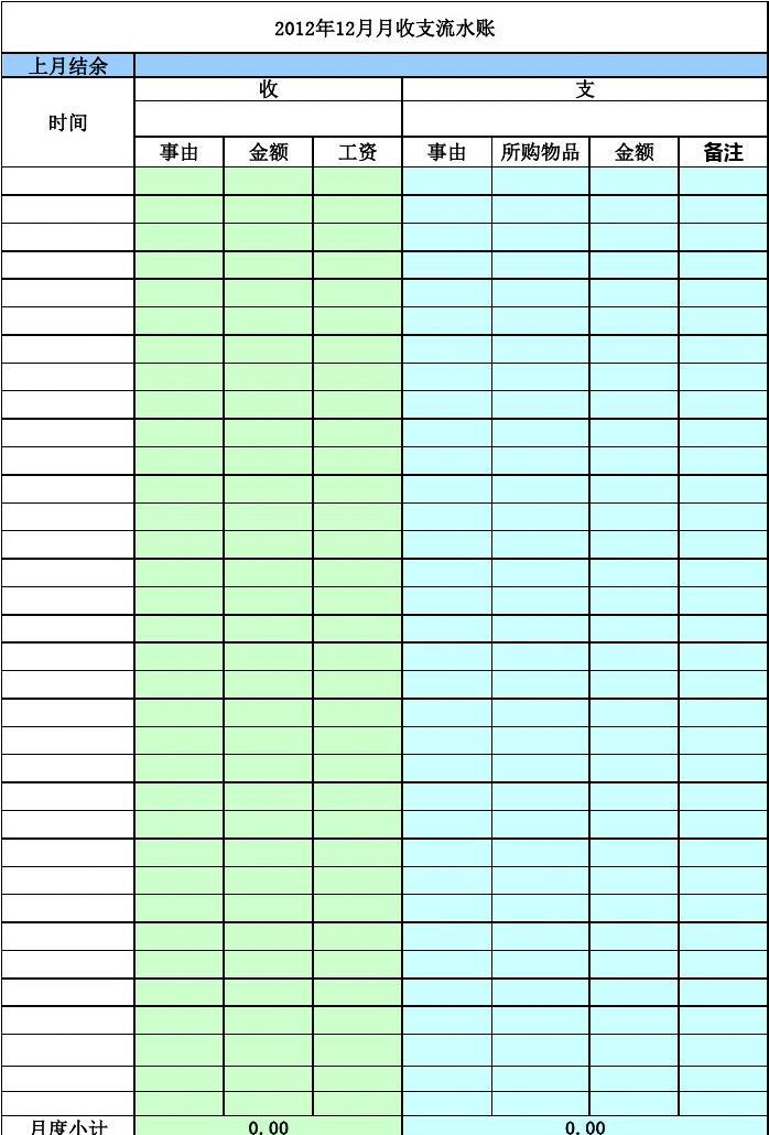 出纳日常流水账表格_所有分类 表格/模板 表格类模板 个人日常记账表格  日常流水单笔填列