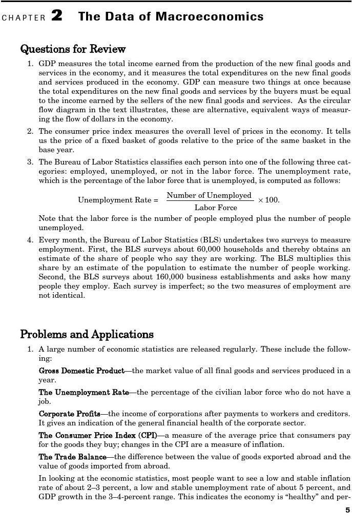 曼昆宏观经济学第七版英文答案 第二章