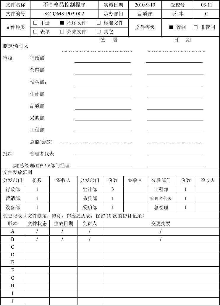 不合格品控制程序SC-QMS-P03-002