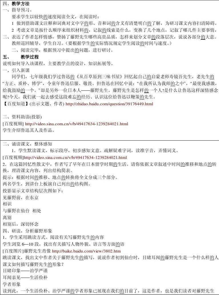 《藤野先生》教学设计王淑英随班就读个别化教学计划ppt图片