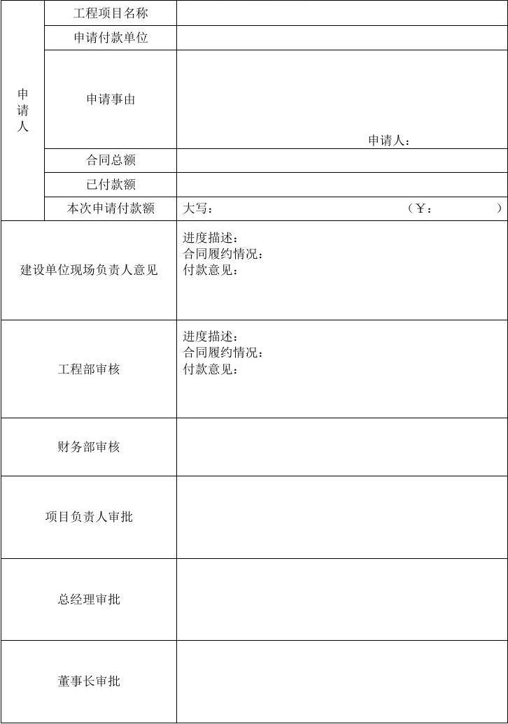 xx公司项目付款申请表图片