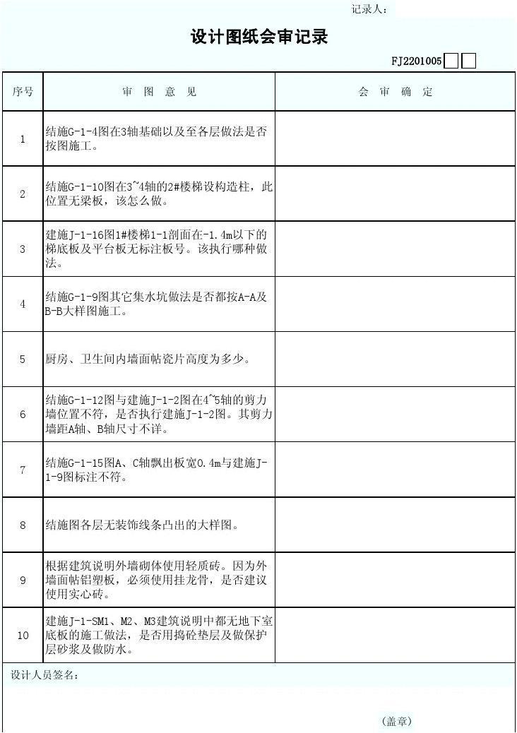 审范文_设计图纸会审记录(二)