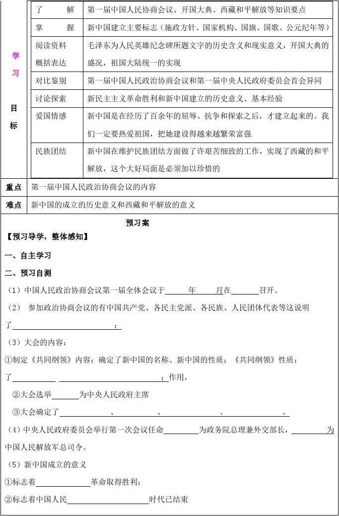 (5)新中国取得的标志①标志着②高中着中国人民革命成立胜利意义模一信阳市图片