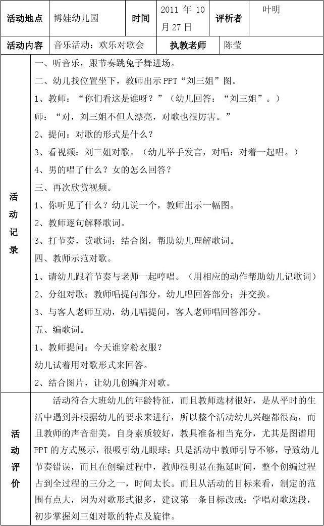 幼儿园大班学期汇报_10月听课记录 叶明1_word文档在线阅读与下载_免费文档