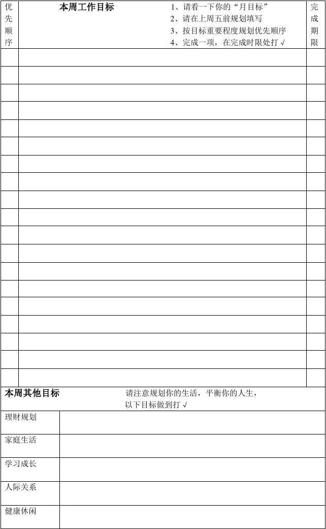 五项管理行动日志表