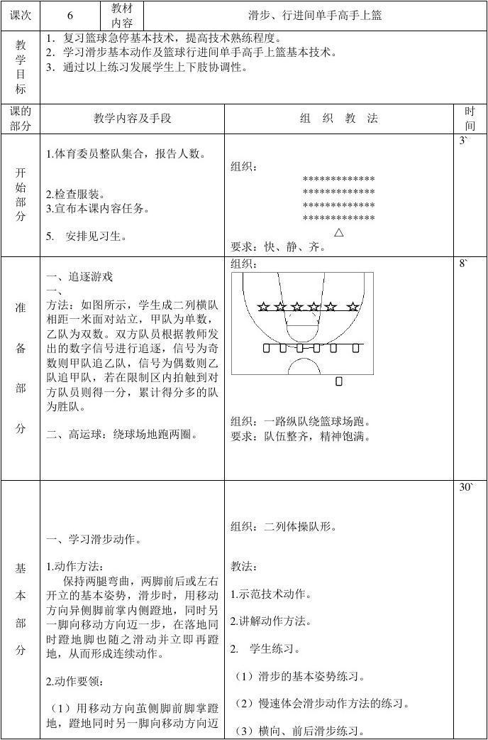 课时高中篮球教案淮安市职业高中图片
