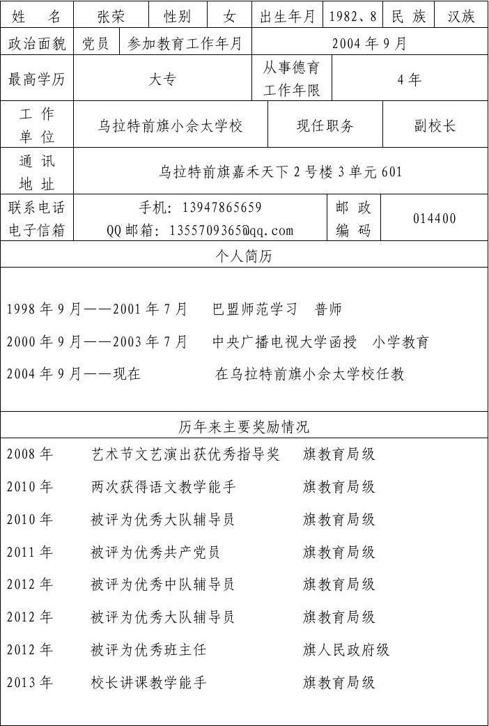 中职德育处工作计划_小佘太学校德育先进工作个人张荣申报表