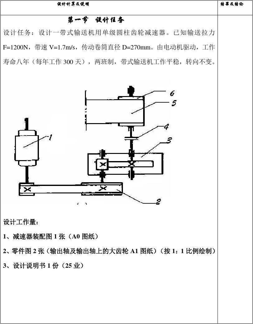 机械设计基础课程设计模板(减速器设计)图片