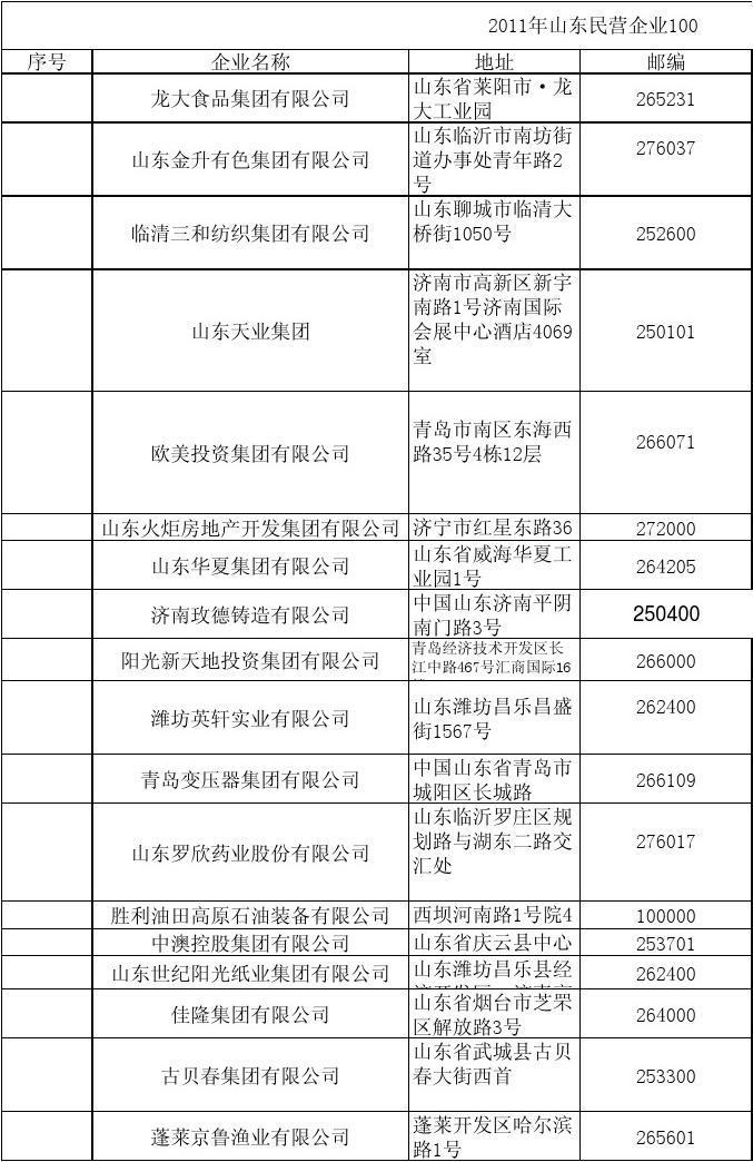 2011山东民营企业