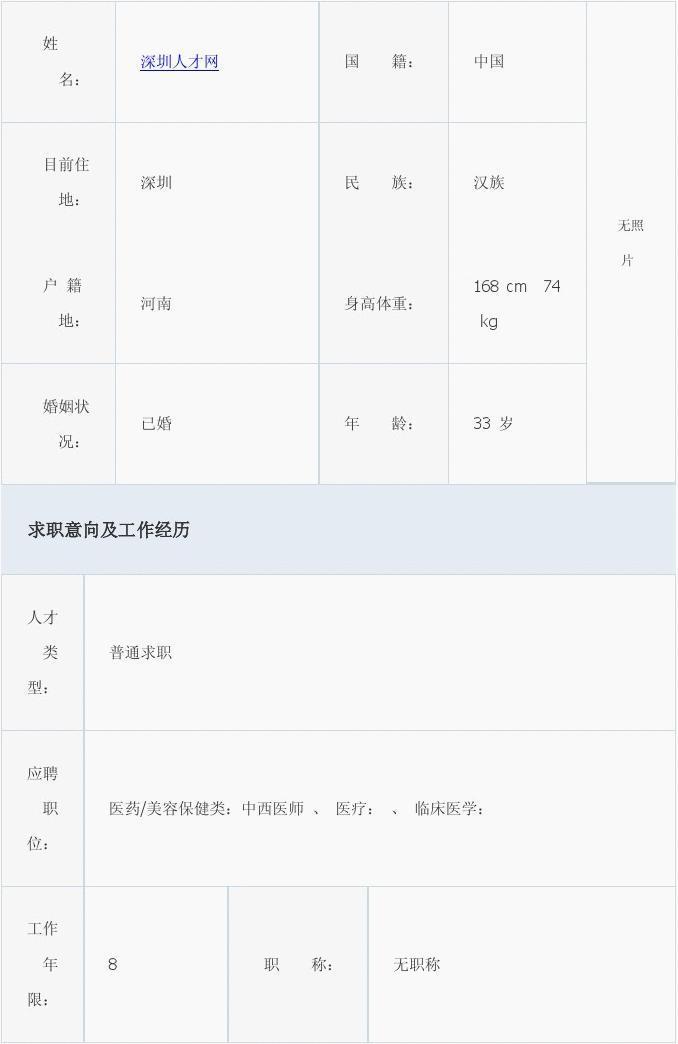 大学毕业生专用标准个人简历模板  2011年三月份优秀简历模板表格 姓图片