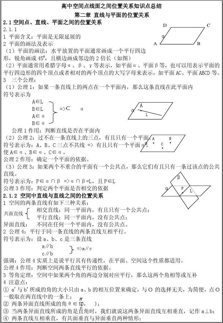 面关系_苏教版数学必修二立体几何点线面之间的位置关系。_word文档在线