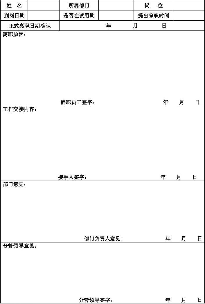 辞职申请表_员工辞职申请表_word文档在线阅读与下载_无忧文档
