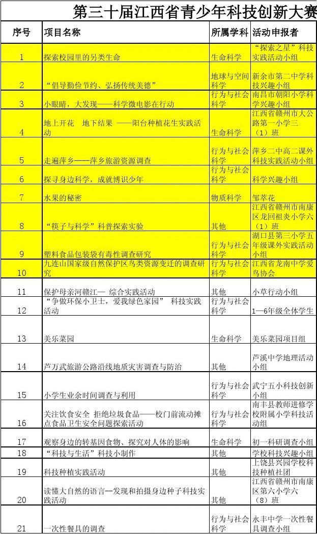 第三十届江西省青少年科技创新大赛实践活动评分表