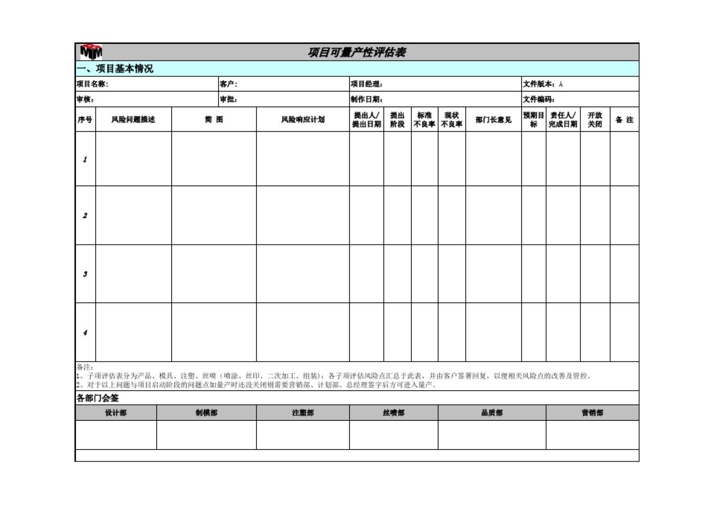 项目量产性评估表